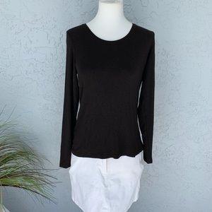 Eileen Fisher Black Everyday LS Top Shirt Petite